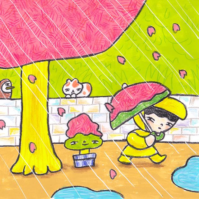 窓にシーズン #002「雨ふって桜の木」